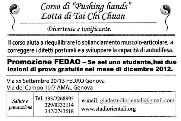 Corso di 'Pushing hands' x studenti