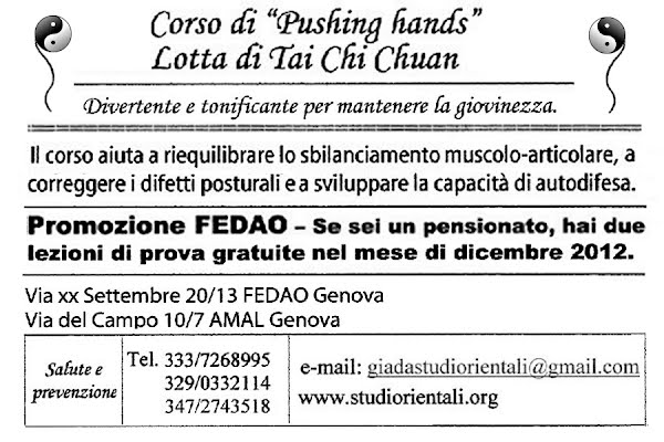 Corso di 'Pushing hands' pensionati